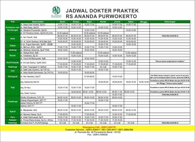 JADWAL PRAKTEK DOKTER RS ANANDA PURWOKERTO