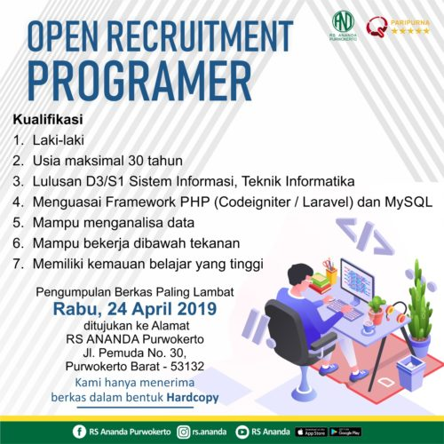 OPEN RECRUITMENT POSISI PROGRAMER - RS ANANDA PURWOKERTO