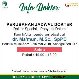 JADWAL PRAKTEK dr. Ma'mun, M.Sc., SpPD - RS ANANDA PURWOKERTO