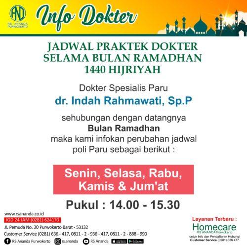 JADWAL PRAKTEK dr. INDAH RAHMAWATI, SpP - RS ANANDA PURWOKERTO
