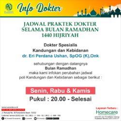 JADWAL PRAKTEK dr. Eri Perdana Ushan, SpOG (K), Onk - RS ANANDA PURWOKERTO